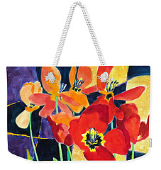 Bold Quilted Tulips Weekender Tote Bag