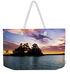 Weekender Tote Bag featuring the photograph Bold Sunset Over Lake Martin by Parker Cunningham