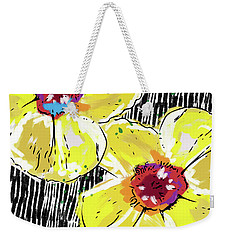 Weekender Tote Bag featuring the mixed media Bold Yellow Poppies- Art By Linda Woods by Linda Woods