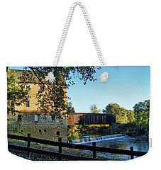Weekender Tote Bag featuring the photograph Bollinger Mill And Bridge by Cricket Hackmann