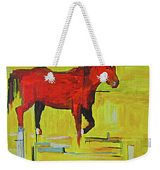 Weekender Tote Bag featuring the painting Bolt by Brenda Pressnall