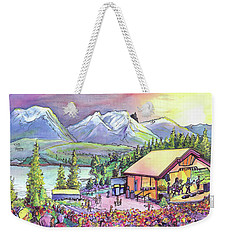 Weekender Tote Bag featuring the painting Bonfire Dub by David Sockrider