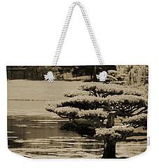 Bonsai Tree Near Pond In Sepia Weekender Tote Bag