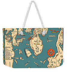 Boothbay Harbor And Vicinity - Vintage Illustrated Map - Pictorial - Cartography Weekender Tote Bag