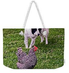 Border Collie Herding Chicken Weekender Tote Bag