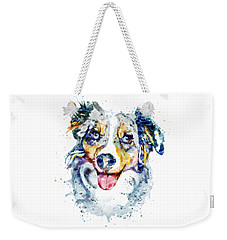 Weekender Tote Bag featuring the mixed media Border Collie  by Marian Voicu