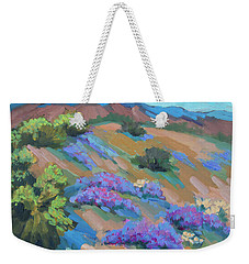 Weekender Tote Bag featuring the painting Borrego Springs Verbena by Diane McClary