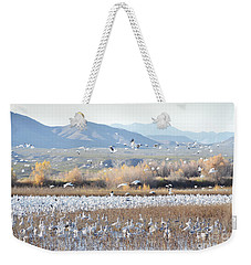 Bosque Del Apache Snow Geese Landscape Weekender Tote Bag by Andrea Hazel Ihlefeld
