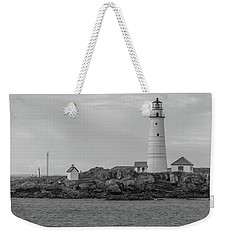 Boston And Graves Lighthouses In Monochrome Weekender Tote Bag