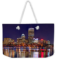 Boston Back Bay Skyline At Night 2017 Color Panorama 1 To 3 Ratio Weekender Tote Bag by Jon Holiday