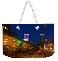 Boston Ma Green Line Train On The Move Weekender Tote Bag