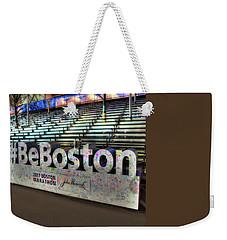 Weekender Tote Bag featuring the photograph Boston Marathon Sign by Joann Vitali