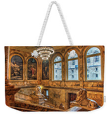 Weekender Tote Bag featuring the photograph Boston Public Library Architecture by Joann Vitali