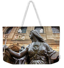 Weekender Tote Bag featuring the photograph Boston Public Library Lady Sculpture by Joann Vitali