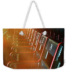 Weekender Tote Bag featuring the photograph Boston Red Sox Fenway Park Seats by Joann Vitali