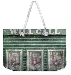 Weekender Tote Bag featuring the photograph Boston Red Sox Fenway Park Ticket Booth In Winter by Joann Vitali