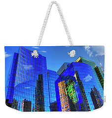 Weekender Tote Bag featuring the photograph Boston Reflections - Fort Point Channel by Joann Vitali