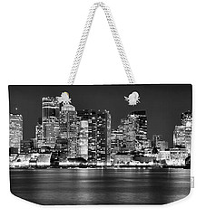 Boston Skyline At Night Panorama Black And White Weekender Tote Bag
