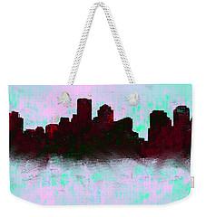 Boston Skyline Sky Blue  Weekender Tote Bag by Enki Art