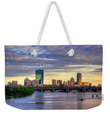 Boston Skyline Sunset Over Back Bay Weekender Tote Bag by Joann Vitali