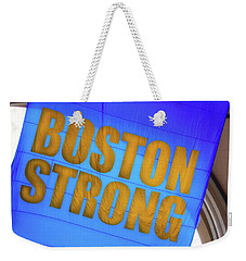 Weekender Tote Bag featuring the photograph Boston Strong - Boston Marathon Banner by Joann Vitali