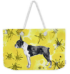 Weekender Tote Bag featuring the painting Boston Terrier On Yellow by Zaira Dzhaubaeva