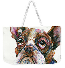 Weekender Tote Bag featuring the painting Boston Terrier Watching A Soap Bubble by Zaira Dzhaubaeva