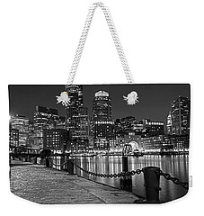 Boston Waterfront Boston Skyline Black And White Weekender Tote Bag