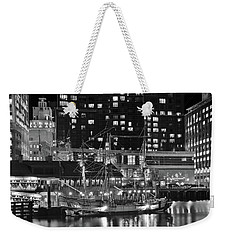 Weekender Tote Bag featuring the photograph Bostonian Black And White by Frozen in Time Fine Art Photography