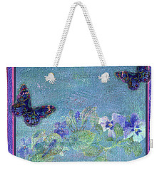 Weekender Tote Bag featuring the painting Botanical And Colorful Butterflies by Judith Cheng