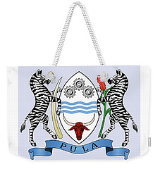 Weekender Tote Bag featuring the drawing Botswana Coat Of Arms by Movie Poster Prints