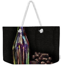 Weekender Tote Bag featuring the photograph Bottle And Grapes by Walt Foegelle