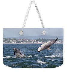 Weekender Tote Bag featuring the photograph Bottlenose Dolphins - Moray Firth Scotland #45 by Karen Van Der Zijden