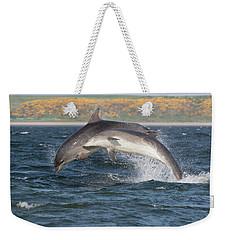 Weekender Tote Bag featuring the photograph Bottlenose Dolphins - Moray Firth Scotland #47 by Karen Van Der Zijden