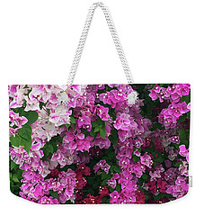 Weekender Tote Bag featuring the photograph Bougainville Flowers In Hawaii by Karen Nicholson