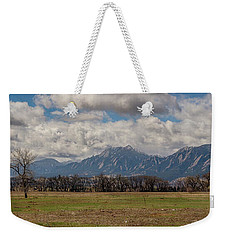 Weekender Tote Bag featuring the photograph Boulder Colorado Front Range Panorama View by James BO Insogna