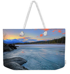 Weekender Tote Bag featuring the photograph Boulders And Ice On The Athabasca River by Dan Jurak