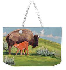 Bouncing Baby Bison Weekender Tote Bag
