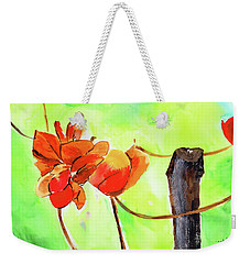 Weekender Tote Bag featuring the painting Bound Yet Free by Anil Nene