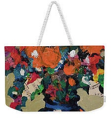 Bouquet-a-day #8 Original Mixed Media Painting On Canvas 70.00 Incl Shipping By Elaine Elliott Weekender Tote Bag