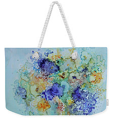 Weekender Tote Bag featuring the painting Bouquet Of Blue And Gold by Joanne Smoley