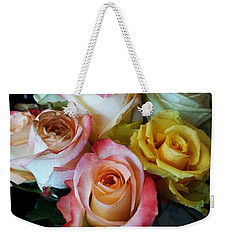 Weekender Tote Bag featuring the photograph Bouquet Of Mature Roses At The Counter by Mr Photojimsf