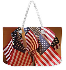 Bouquet Of Us Flags Weekender Tote Bag by Linda Phelps