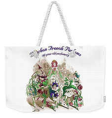 Weekender Tote Bag featuring the digital art Bourbon French Perfume by ReInVintaged
