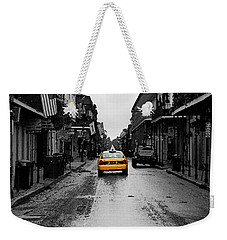 Bourbon Street Taxi French Quarter New Orleans Color Splash Black And White Watercolor Digital Art Weekender Tote Bag
