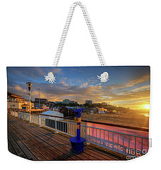 Weekender Tote Bag featuring the photograph Bournemouth Pier Sunrise by Yhun Suarez