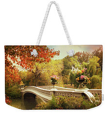 Weekender Tote Bag featuring the photograph Bow Bridge Crossing by Jessica Jenney