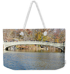 Weekender Tote Bag featuring the photograph Bow Bridge With Wedding by Steven Richman