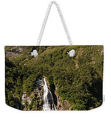 Weekender Tote Bag featuring the photograph Bowen Falls Milford Sound by Gary Eason