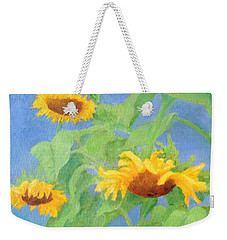 Bowing Sunflowers Colorful Original Painting Weekender Tote Bag